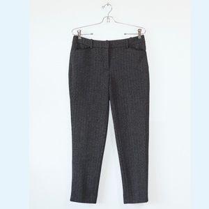 WHBM Slim Ankle Grey Herringbone Pants 4